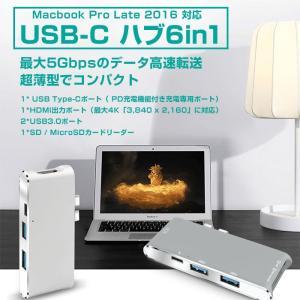 USB-Cハブ6in1 Macbook Pro Late 2016 対応 デュアル USB type-Cハブ アルミニウム合金   ゆうパケットで送料無料  ◇CHI-YC-204B|chic