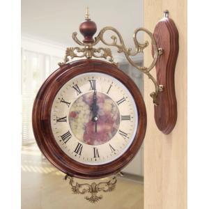 両面時計 大型両面時計(時計直径29cm) ベリタス-530 天然木両面時計 おしゃれな 低騷音 インテリア 両面壁掛け時計