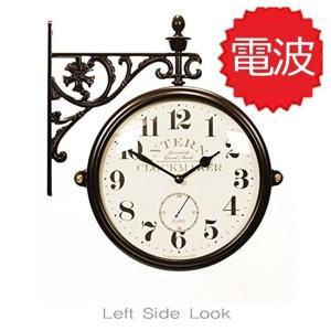 両面電波時計 両面時計 Interior Double Face Wall Clock おしゃれな 低騷音 インテリア 両面壁掛け時計 電波両面時計 M195 Br-AN(A)