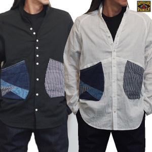 Wガーゼ素材のシンプルなシャツ。  直営店限定商品です!!  立ち襟にVネック仕様のシャツ。  大き...