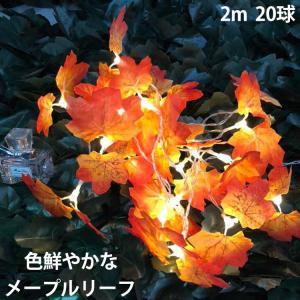 乾電池式LEDライト 紅葉 楓 秋 メープル もみじ 2m 20球  便利 インテリア 間接照明 お...
