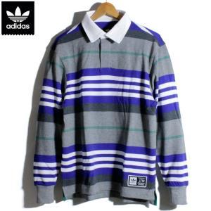 アディダス adidas ポロシャツ 長袖 ラガーシャツ スリーライン グレー|chiki-2