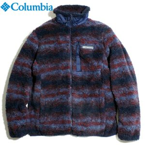 Columbia コロンビア フリースジャケット ストレッチボアフリース フルジップ ブランケット柄 ネイビーレッド|chiki-2