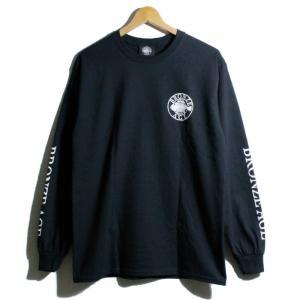 BRONZEAGE ブロンズエイジ ロンT 長袖Tシャツ フィッシュボーン 袖プリント ブラック|chiki-2