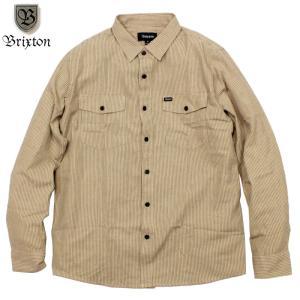 BRIXTON ブリクストン ワークシャツ ストライプ カーキ/ブラック|chiki-2