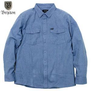 BRIXTON ブリクストン ワークシャツ ストライプ ブルー/ホワイト|chiki-2