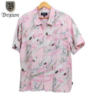 BRIXTON アロハシャツ 和柄 鶴 竹 ピンク|chiki-2