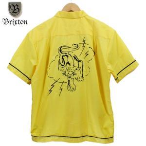 BRIXTON ボーリングシャツ 虎 トラ 雷 和柄 チェーンステッチ イエロー|chiki-2