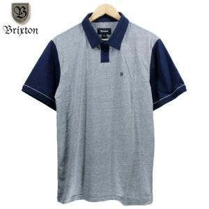 BRIXTON ポロシャツ 刺繍ロゴ 袖切替 ヘザーグレーネイビー|chiki-2