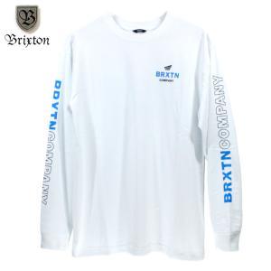 BRIXTON ロンT 長袖Tシャツ 袖プリ ホワイト|chiki-2