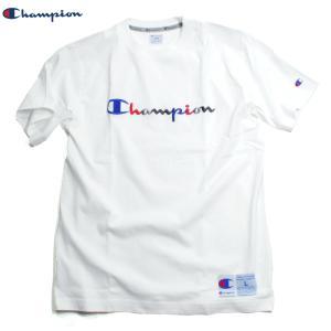 チャンピオン Champion Tシャツ アクション スポーツ ストリート トリコロール 刺繍ロゴ White ホワイト chiki-2