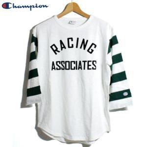 チャンピオン Champion 7分袖 Tシャツ ロチェスター ヴィンテージ仕様 袖ボーダー オフホワイト|chiki-2