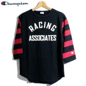 チャンピオン Champion 7分袖 Tシャツ ロチェスター ヴィンテージ仕様 袖ボーダー ブラック|chiki-2