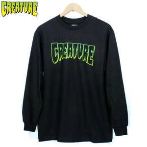 CREATURE クリーチャー ロンT 長袖Tシャツ ホラー グラデーション アウトラ イン 黒緑 ブラック グリーン|chiki-2
