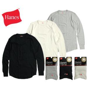 Hanes ヘインズ サーマル クルーネック 長袖Tシャツ 3色展開 chiki-2