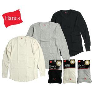 Hanes ヘインズ サーマル Vネック長袖Tシャツ  3色展開  ブラック/オフホワイト/ヘザーグレー chiki-2