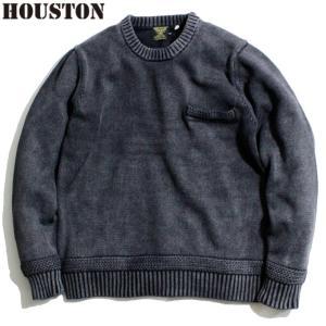 HOUSTON ヒューストン セーター ニット クルーネック ピグメント染め ブラック chiki-2