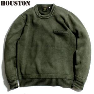 HOUSTON ヒューストン セーター ニット クルーネック ピグメント染め オリーブドラブ chiki-2