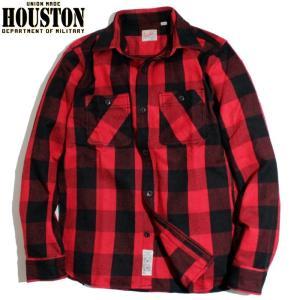 HOUSTON ヒューストン ヘビーネル ビエラシャツ ブロックチェック 赤黒 レッドブラック chiki-2