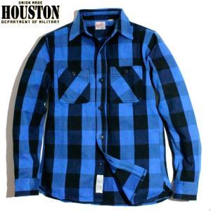 HOUSTON ヒューストン ヘビーネル ビエラシャツ ブロックチェック 青黒 ブルーブラック chiki-2