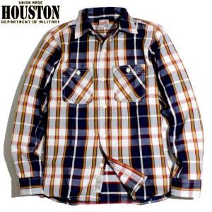 HOUSTON ヒューストン ヘビーネル ビエラシャツ マドラスチェック ネイビー chiki-2