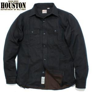 HOUSTON ヒューストン ヘビーネル ビエラシャツ 無地 ブラック chiki-2
