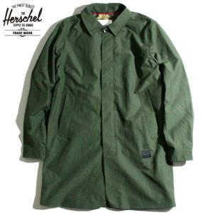 ハーシェル HERSCHEL ステンカラーコート BASQUIAT バスキア コラボ 6040クロス 撥水加工 ダークオリーブ|chiki-2