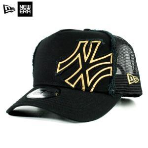 ニューエラ NEWERA メッシュキャップ Dフレーム バタリオン ニューヨーク ヤンキース 黒金 ブラック ゴールド|chiki-2