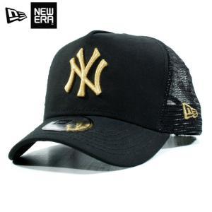 ニューエラ NEWERA メッシュキャップ Dフレーム ニューヨーク ヤンキース 黒金 ブラック ゴールド|chiki-2