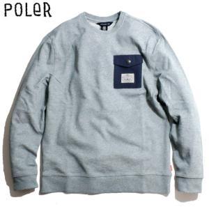 POLER ポーラー ポケット付き スウェット トレーナー グレー chiki-2