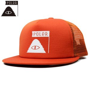 POLER ポーラー キャップ スナップバック メッシュ オレンジ chiki-2