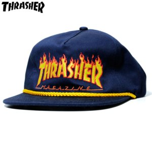 スラッシャー Thrasher スナップバックキャップ フレイム ロゴ ネイビー|chiki-2
