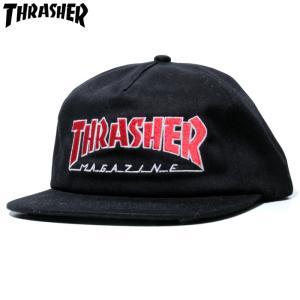 スラッシャー Thrasher スナップバックキャップ マグロゴ アウトライン ブラック|chiki-2