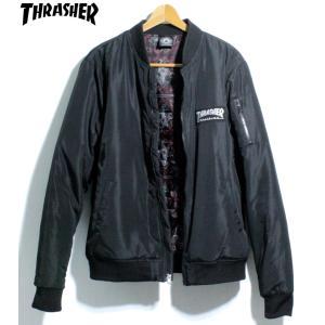 スラッシャー THRASHER ボンバージャケット 中綿ジャケット スケートゴート ペイズリー ブラック|chiki-2