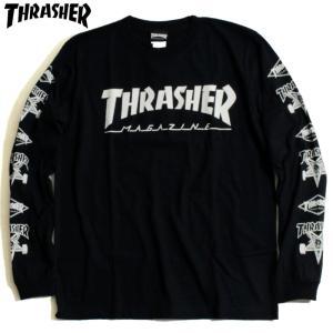 スラッシャー THRASHER ロンT マルチ ロゴ アイコン 袖プリ ブラック|chiki-2