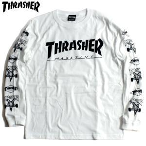 スラッシャー THRASHER ロンT マルチ ロゴ アイコン 袖プリ ホワイト|chiki-2
