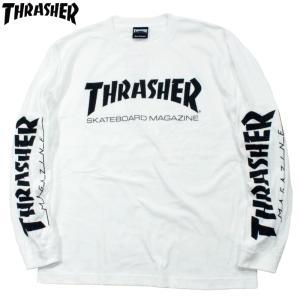 スラッシャー Thrasher ロンT 長袖Tシャツ 袖プリ マグロゴ ホワイト|chiki-2
