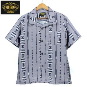 UNIVERD72 オープンカラーシャツ 開襟 アロハシャツ 柄シャツ ネイティブアメリカン風 オリエンタル柄 グレー|chiki-2