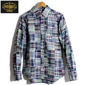 UNIVERD72 パッチワーク チェックシャツ ボタンダウン|chiki-2