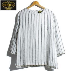 ノーカラーシャツ 7分袖 ストライプ プルオーバー リネンシャツ 白 ホワイト UNIVERD72 ユニバード72|chiki-2