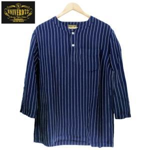 ノーカラーシャツ 7分袖 ストライプ プルオーバー ヘンリーネック 紺 ネイビー UNIVERD72 ユニバード72|chiki-2