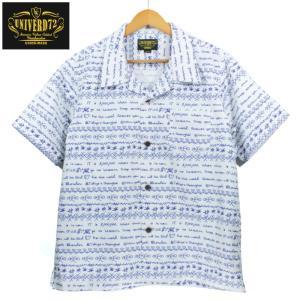 UNIVERD72 オープンカラーシャツ 開襟 アロハシャツ 柄シャツ テキスト 文字 ホワイト|chiki-2