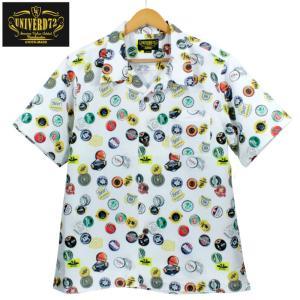 UNIVERD72 オープンカラーシャツ 開襟 アロハシャツ 柄シャツ ビール ボトルキャップ柄 ホワイト|chiki-2