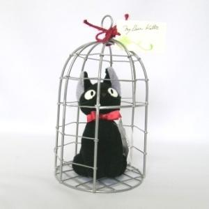 【スタジオジブリ 魔女の宅急便 おすましジジ カゴ入り】  魔女の宅急便でおなじみの黒猫 ジジが鳥か...