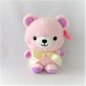 くま ぬいぐるみ コロンベア サテンリボン ピンク chiko-mori