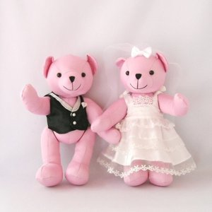 ぬいぐるみ電報 メッセージベア ピンク くま ぬいぐるみ ベスト&ドレス付き|chiko-mori