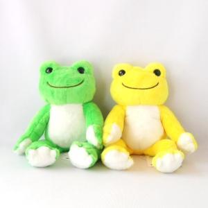 カエルのピクルスのにじいろビーンドールのぬいぐるみ 「わかば」と「おひさま」をペアでお届け。 緑と黄...