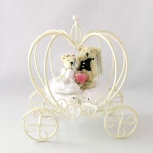 リングピロー ミニ ちっちゃなウェディングベア かぼちゃの馬車付き|chiko-mori