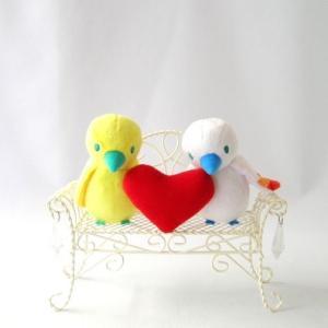 ウェルカムバード くまのがっこう ピッピとチッチ ぬいぐるみ ハート ホワイトベンチS付き|chiko-mori
