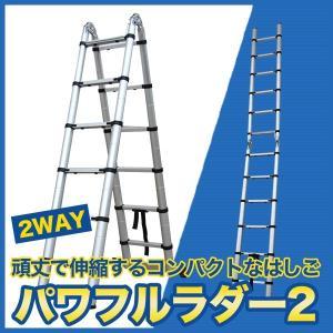 はしご 梯子 アルミ製 伸縮はしご 脚立 伸縮脚立 最大 3.8m 多機能  パワフルラダー2|chikyuya